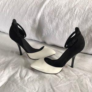 ASOS Black & White Ankle Strap Pump